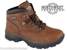 MENS WALKING  BOOTS WATERPROOF HIKING BOOTS BROWN LEATHER