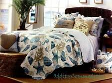 Coastal Beach House Nautical Ocean Coral Reef Aqua Blue Sea Shell Quilt Set