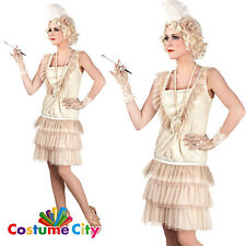 Ivory Deluxe Ladies 1920's Flapper Gangster Moll Fancy Dress Costume PA