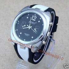 Dress Watches Large Dial 2 Color Strap Silicone Men Rubber Quartz Wrist Watch
