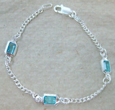 MADE IN ITALY 925 STERLING SILVER rectangle BLUE cz 13.5cm to 24cm BRACELET GIRL