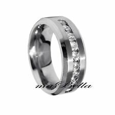 Hot Nice Nine CZ Stainless Steel 8mm Men's Wedding Band Ring Size 9 10 11 12 13