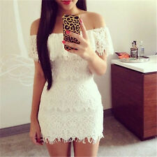 Sexy Women Summer Fashion BodyCon Lace Evening Party Cocktail MINI White Dress