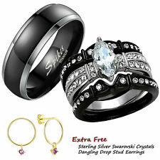 4 Pc His Titanium Her Black Stainless Steel Wedding Engagement Ring Band Set