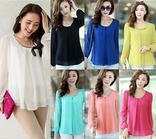 Korean Fashion Womens Ladies Loose Chiffon Tops Long Sleeve Shirt Casual Blouse