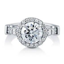 BERRICLE Sterling Silver 2.64 Carat Round Cut CZ Halo Engagement Ring