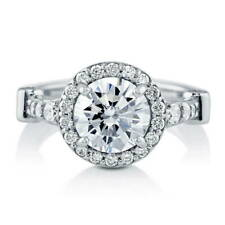 BERRICLE Sterling Silver Round Cut CZ Halo Engagement Ring 2.64 Carat