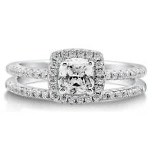 BERRICLE Sterling Silver 0.75 ct.tw Cushion CZ Halo Engagement Wedding Ring Set