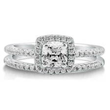 BERRICLE Sterling Silver 0.745 Carat Cushion CZ Halo Engagement Ring Set