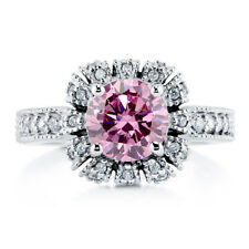 BERRICLE Sterling Silver Round Pink CZ Crown Halo Engagement Wedding Ring