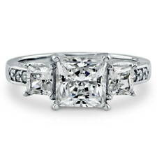 BERRICLE Sterling Silver 3.13 Carat Princess Cut CZ 3-Stone Engagement Ring