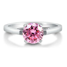 BERRICLE Sterling Silver Round Cut Pink CZ Solitaire Engagement Ring 1.28 Carat
