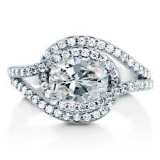 BERRICLE Sterling Silver Oval Cut CZ Solitaire Engagement Ring 2.52 Carat