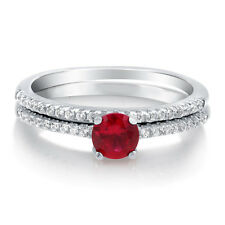 BERRICLE 925 Silver Simulated Ruby CZ Solitaire Engagement Ring Set 0.655 Carat