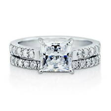 BERRICLE Sterling Silver Princess CZ Solitaire Engagement Ring Set 2.6 Carat