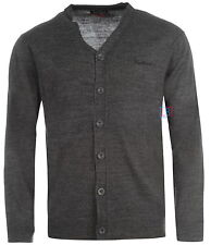 Pierre Cardin Mens Charcoal Cardigan Smart Knitted Buttoned Jumper Sizes to 4XL