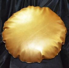 Pe253n Gold Soft Sheep Faux Leather Round Shape Cushion/Pillow Cover Custom Size