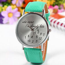 Who Cares Im Already Late New Fashion Funny Comment Women's Men's Wrist Watches