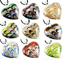 Fashion Heart Shaped Foil Lucency Murano Art Glass Pendant Necklace Free Cord