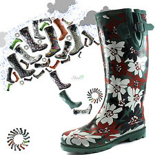 Women Round Toe Rainboots Cowboy Style Mid Calf Knee High Rubber Snow Rain Boots