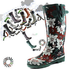 Women Round Toe Rainboots Trend Style Mid Calf Knee High Rubber Snow Rain Boots