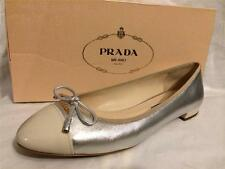 PRADA Metallic Silver Leather Patent Cap Toe Ballet Ballerina Flat Shoe Bow $550