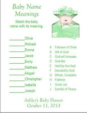 24 Personalized BABY NAME MEANING Baby Shower Game
