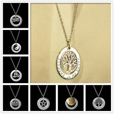 New Engraved Circle YinYang Friendship Silver Tone Charm Chain Pendant Necklace