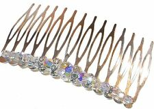 CLEAR AB Crystal Hair Comb Swarovski Elements Handcrafted Round 5000 beads