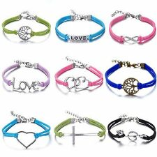 NEW charm Jewelry fashion Leather Infinity Charm Bracelet Silver lots Style pick