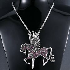 NEW Women Ladys Costume Horse Pendant Necklace Rhinestone Jewelry Party Gifts