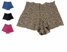 NWT Ambrielle Brown Coffee Black Boyshorts Floral Lace Tummy hips rear control