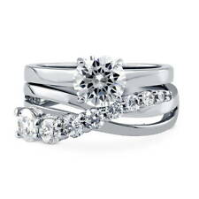 BERRICLE Sterling Silver CZ Graduated Solitaire Engagement Ring Set 2.1 Carat