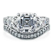 BERRICLE Sterling Silver Asscher CZ 3-Stone Engagement Ring Set 6.14 Carat