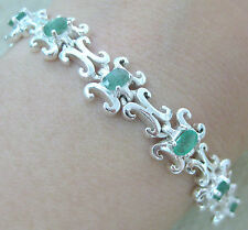 "925 STERLING SILVER ""REAL EMERALD"" thick SOLID art deco VINTAGE bracelet - WOMEN"