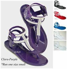 New Women Gladiator Flat Sandal T-strap Thong Style Rhinestone Shoes 5-10 Size C