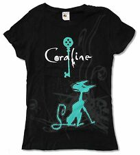"""CORALINE """"CAT & KEY"""" BLACK BABY DOLL T-SHIRT NEW JUNIORS MOVIE OFFICIAL"""