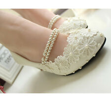 Royal Lace Elegant Pearls Butterfly Across Tops Bridal Party Wedding Shoes