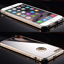 Luxury Aluminum Metal Bumper PC Mirror Back Case Cover For iPhone 5/5S/6/6 Plus
