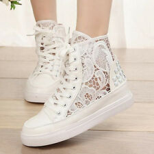 Womens Lace up Breathable Causal Sneakers Platform High Top Shoes Ankle Boots