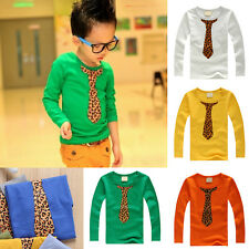 Boys Kids Clothes Shirts Tie Pattern Long Sleeve T-shirt Crewneck Tee Tops 2-8Y