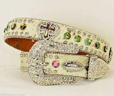 ATLAS WESTERN COWGIRL BRINDLE VOLCANO CROSS WITH WINGS RHINESTONE CONCHO BELT