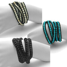 Adjustable Black Leather and Round Beads Wrap Around Bracelet (Choose Color)
