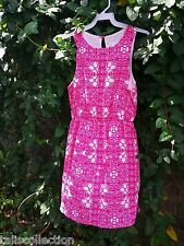 Everly Mollie Pink Mandala Print White Hi-lo Hem Dress w Keyhole Button  EC-3474