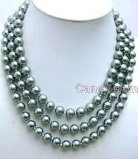 "SALE BIg 8mm Silver Gray Round Shell Pearl 3 strand 17-19"" NECKLACE-nec5841"