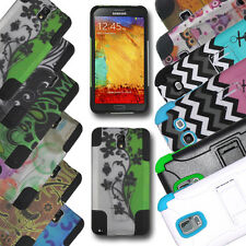 For Samsung Galaxy Cell Phones Hybrid Hard Case+Soft Silicone Cover Kickstand