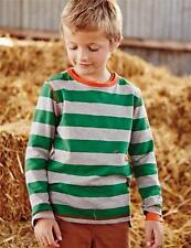 New ex Boden Green Grey Marl Wide Stripe Everday Jersey Top 3-10 years
