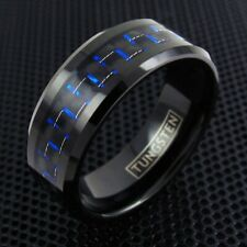 Black Tungsten Men's Blue Carbon Fiber Stripe Band Ring Size 9-13