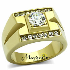 MEN'S STAINLESS STEEL 14K GOLD ION PLATED 1.26 CT SIMULATED DIAMOND RING SZ 8-13