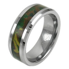 Tungsten Men's Forest Green Camouflage Camo Hunting Band Ring Size 9-13